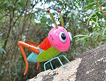 GIFTME 5 Grasshopper Yard Art Garden Idea for Kids,Perfect Addition to Patio Yard Lawn Tree Decoration ,9.5 Inch Pink