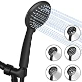 Luxsego High Pressure Handheld Shower Head 5-Setting Powerful Shower Spray Against Low Pressure Water Supply Pipeline with Hose with 59'' PVC Shower Hose, Adjustable Solid Brass Bracket, Matte Black