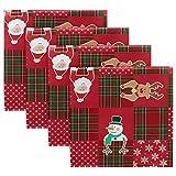 MNSRUU - Tovaglioli di stoffa a quadri natalizi con Babbo Natale, 50,5 x 50,5 cm, per casa, matrimoni, feste, vacanze, tovaglioli, set di 4