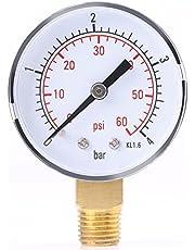 "Manómetro para combustible, aire, aceite o agua 0-4 bar / 0-60 psi NPT, 1/4""NPT, montaje inferior"