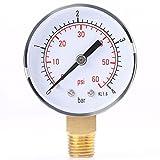 Calibrador de presión, 0-4 bar / 0-60 psi Medidor de presión de metal NPT Mini Calibrador de baja presión BSPT Soporte inferior para combustible, aire, aceite, agua