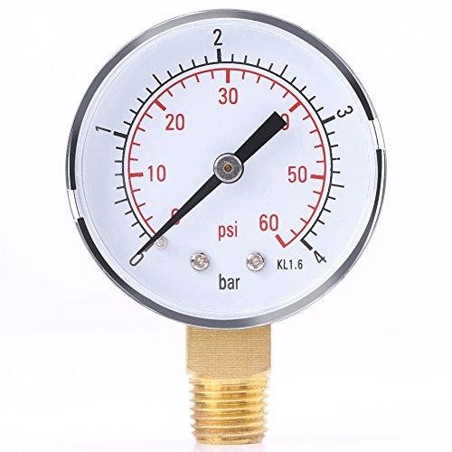 Mini Manometer, Druckluft-Manometer mit Doppelter Skala Geeignet für Luft, Wasser, Öl, Luft und andere Materialien 0-4bar / 0-60psi