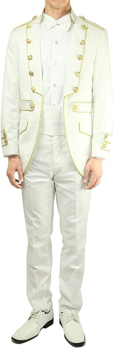Wonder Stage Men's Slim Fit 4 Pc White Tuxedo Suit Jacket Pants Cummerbund Bowtie