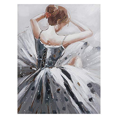 Rayber Pintura de diamantes de ballet 5D, pintura de diamante, pintura de diamante para manualidades, pintura de diamante, taladro completo, para decoración de pared del hogar, 30 x 40 cm