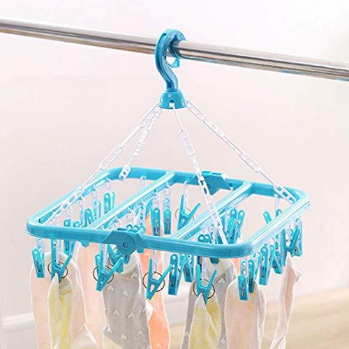 Asciugabiancheria 32 Gancio per bucato con clip e bucato stendibiancheria per asciugare indumenti Asciugamani Pannolini Intimo Calze Cappello Guanto Blue