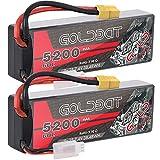 GOLDBAT 7.4V 60C Batterie RC 5200mAh 2S Batterie Lipo RC avec connecteur XT60 pour Voiture RC Evader RC Evader BX Voiture Camion Camion Truggy Camion Bateau 2 Paquets