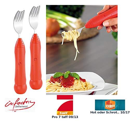 infactory Gabel: 2er-Set automatische Spaghettigabel mit genialer Aufroll-Technik (Senioren-Spaghettigabel)
