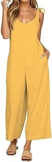 XINHEO Women Open Back Sleeveless Wide Leg V Neck Pure Colour Suspender Trousers Overalls