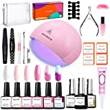 Modelones Gel Nail Polish Kit with 48W U V Light- 4 Pink Colors and 2 Temperature Color Changing Gel Matte Top Coat, Base Top Coat, Upgraded Manicure Tools in Storage Bag