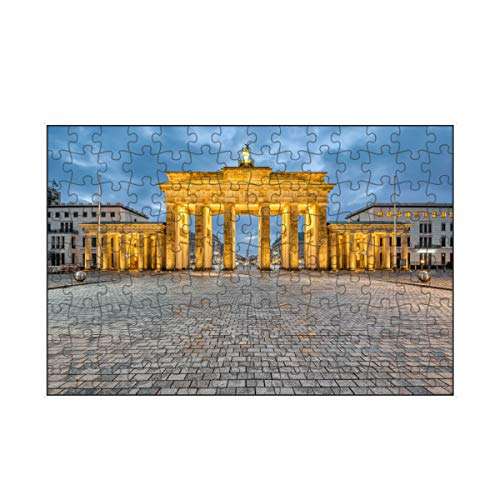 artboxONE-Puzzle S (112 Teile) Städte / Berlin Brandenburger Tor Panorama - Puzzle Berlin Beleuchtung Berlin