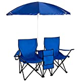 Folding Armchair Beach Deck Chair Recliner Lounge Chaise-Longue for Picnic Pool Hiking Fishing Camping Outdoor Canopy Stool with Umbrella Cooler