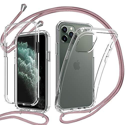 YuhooTech 360 Grad Handykette Hülle für iPhone 11 Pro, Necklace Hülle mit Band/Doppel-Schutz Transparent Handyhülle[Einteiliges Design] Schutzhülle mit integriertem Displayschutz-Roségold