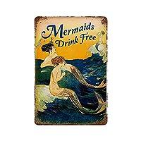 2個 8 × 12 インチ錫サイン人魚ドリンク無料海ノスタルジックな金属ポスター家の装飾クラブバーカフェ メタルプレート レトロ アメリカン ブリキ 看板