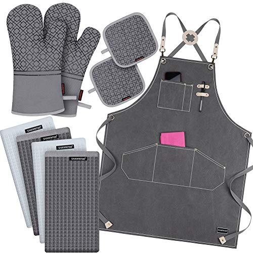 9-Piece Chef Aprons.Oven Mitts and Pot Holders Set, 100% Cotton Kitchen Towels and Dishcloths Sets, 500℉ Heat Resistant Oven Mitts,Waterdrop Resistant Cotton Canvas Cross Back Adjustable,M-XXL (Gray)