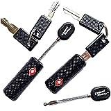 2 x Travel Buddy Candados de seguridad con llaves con Cable, para maleta de viaje, color Negro
