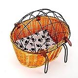 DiLiBee Fahrrad-Haustierkorb Fahrrad-Weiden-Haustierkorb mit Maschendrahtabdeckung und weichem Kissen für Katzen-Hundetier-reisendes Einkaufen