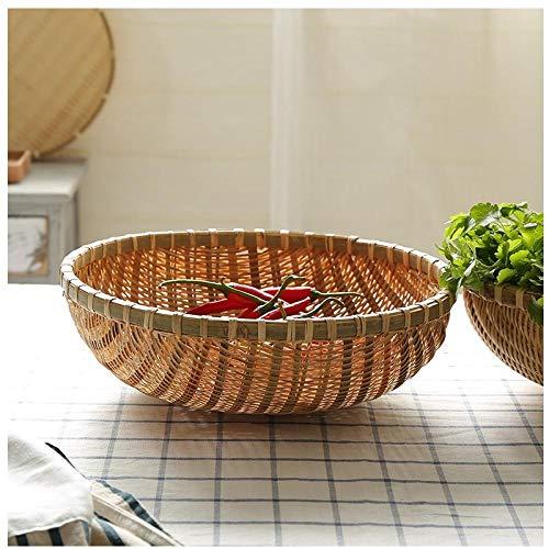 Ykun Tejido de bambú, Plato de Fruta de Cocina, Cesta de Verduras escurrida, Cesta de Huevos, Cesta de bambú-Cesta 22cm Color Natural
