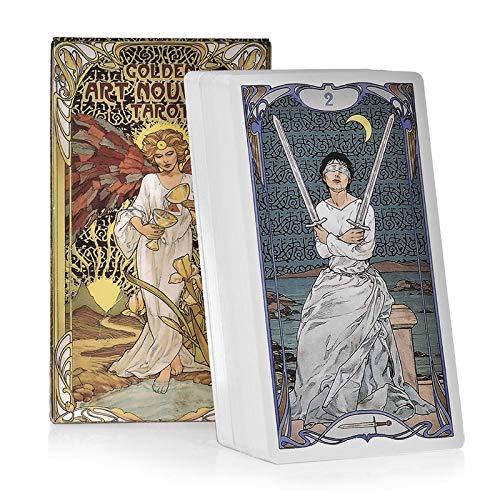 HALASHAO Goldene Art Nouveau Tarot-Karten Deck Oracle Deutsche Version Brettspiele Family Party-Spielkarte Tabellen-Spiel Divination Fate Karte