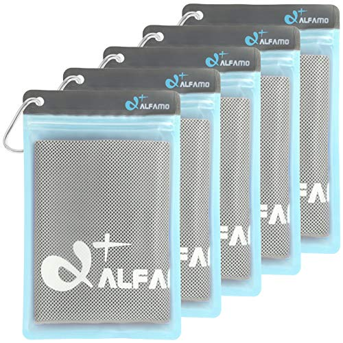 Alfamo Cool Towels for Neck 5 Pack (Gray, S), Cold Towel, Microfiber Towel, Cooling Bandanas Soft Breathable Chilly Towel for Yoga Sport Gym Fitness Running Workout Camping & More Activities