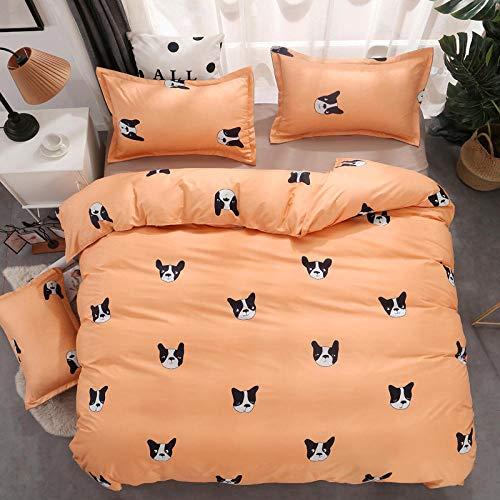 DTBDWOSV3D Bedding Set Duvet Cover Set Single 135X200 Cmanimal Dog Orange Patternwith Microfiber Pillowcases & Zipper Closure Quilt Case Printed Effect For Boy Girl Single Double King Size Bed