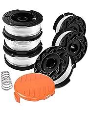 N / E 6-pack strimmerspole & linje, svart och Decker borstskärare med 1 spollock och 1 fjäder, Strimmer trimmer ersättning reflex tråd