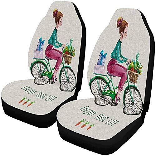 Enoqunt Geniet van je leven mooie meisjes fietsmand groente fruit autostoelbekleding voorstoelen stoelbescherming auto voorzitkussen