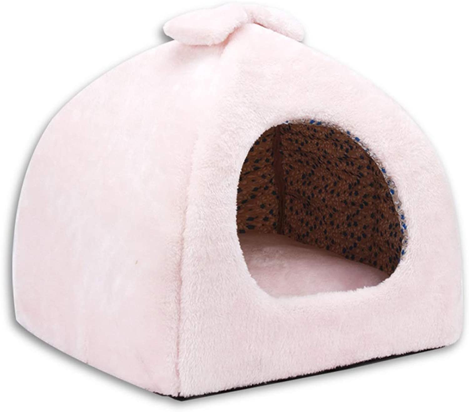 QUD Cat nest, winter warm cat sleeping bag four seasons universal cat house cat house puppies kennel (color   PINK, Size   38  38  37cm)