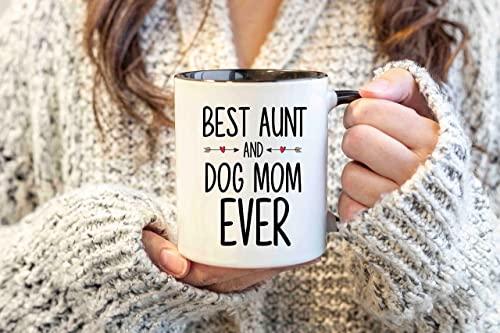 Regalo para tía y mamá para perro La mejor taza para mamá y tía para perro Regalo del día de la madre para el dueño del perro Regalo personalizado para mamá y perro