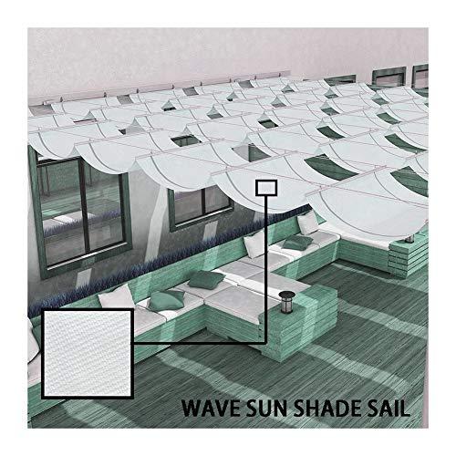 LJIANW Vela de Sombra Toldo Vela, Personalizado Wave Sun Shade Sail Material De HDPE Colgar La Cortina Retráctil 95% UV con Polea for Carpa De Jardín Sala De Sol Yarda, 55 Tamaños