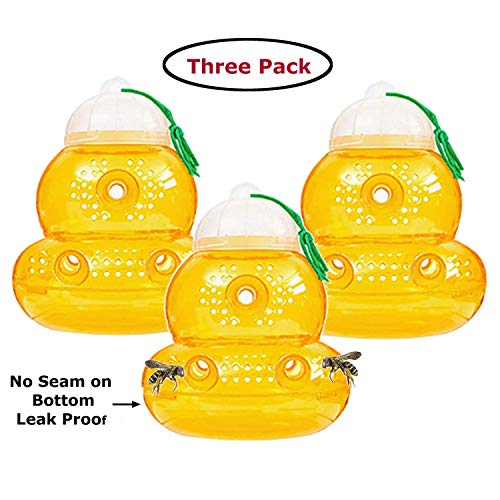 Outward Creations 3 Pack Wasp Trap with no Seam on The Bottom - Eliminates Leaks