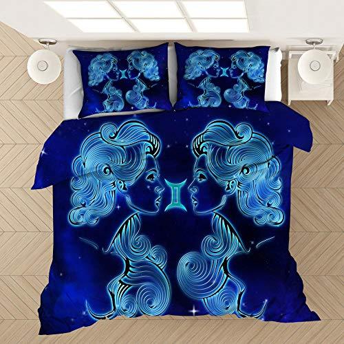ZYNYHGS Doce Constelaciones Funda nórdica 3D Cama Individual Juego de Cama Doble, Suave y cómoda Funda de edredón para niños, Adolescentes y Adultos-H_135x200cm (2pcs)