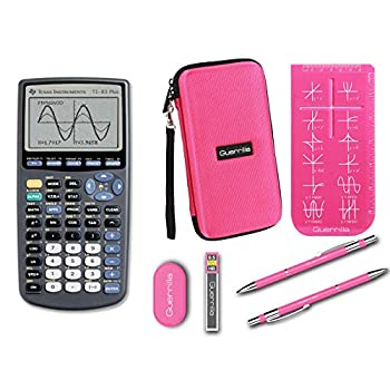 Texas Instruments TI-83 Plus Graphing Calculator + Guerrilla Zipper Case + Essential Graphing Calculator Accessory Kit  Pink
