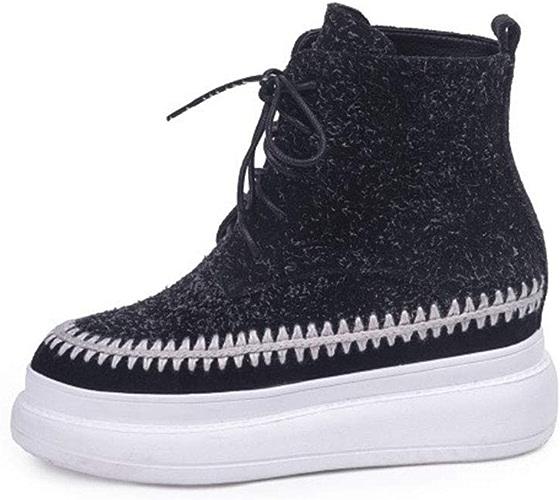 Yanyan Bottes pour Femmes Bottes en Daim à Lacets Martin Tête Ronde Chaussures Confortables de Chaussures de randonnée Tout-Aller décontractées
