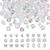 Beadthoven - 600 cuentas acrílicas transparentes, 6 estilos, forma de corazón y estrella, redondas, cuentas de lágrima, cuentas de cristal, chapados en AB para hacer joyas y pulseras