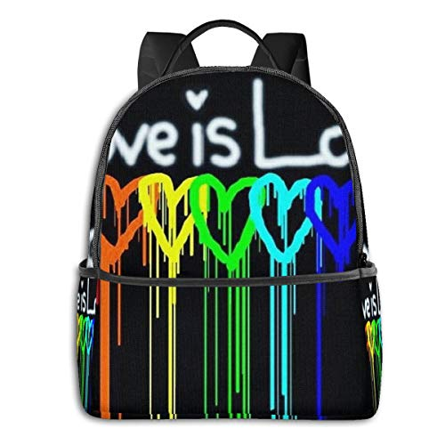 NiYoung Fashion Leisure Backpack for Girls Teenage School Backpack Women Print Backpack Purse Rainbow Gay Pride Rainbow Heart Love is Love