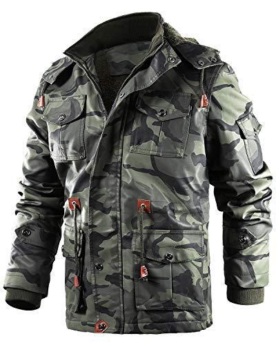 ZIOLOMA Mens Waterproof Leather Jacket Windbreaker Camouflage Fleece Winter Jacket