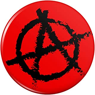 Anarchy Symbol Red Pinback Button Pin Badge