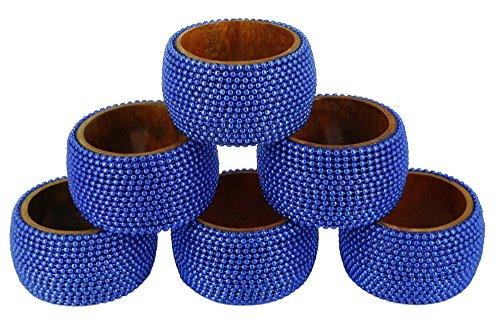 Handgemachte indische blaue Aluminiumkugel Holz Serviettenringe - Set von 6 Ringe