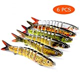 Juemenzhe Fishing Bass Lures Multi Jointed Topwater Life-Like Trout Swimbait Hard CrankBaits 6Pcs