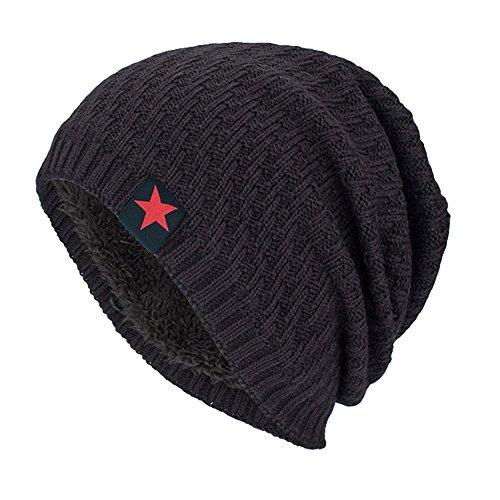YWLINK Unisex MüTze Beanie StrickmüTze Absicherung Pfahlkappe Warm Draussen Mode Fleece Futter Hut Damen Herren(Einheitsgröße,Kaffee)