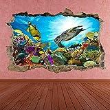 ioljk Pegatinas de Pared 3D Acuario de Peces de mar bajo el Agua, habitación Infantil, 50x70cm