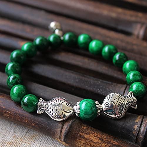 Cosaike Natural Feng Shui curación Jade Pulsera Tibetano Plata Suerte wu lou y Doble Peces Encanto Verde Esmeralda Abalorios Brazalete joyería joyería Amuleto atrae Dinero Prosperidad Suerte