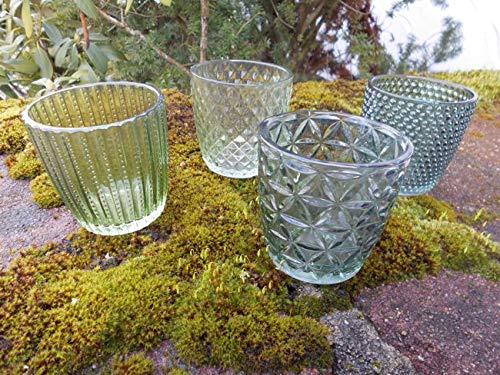 Deko-Impression Windlichtgläser 4er-Set Teelichthalter Windlicht Glas grün verziert