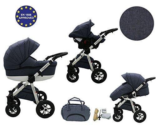 QUERO Lin Matériau - Landau pour bébé + Siège Auto - Poussette - Système 3en1 + Accessoires (Système 3en1, Lin Matériau N ° 3)