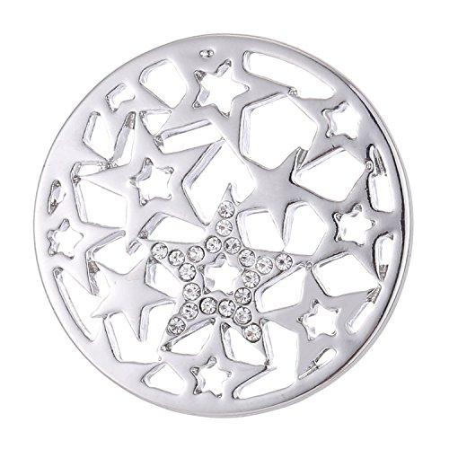 Morella Damen Coin 33 mm Sternenmuster Silber