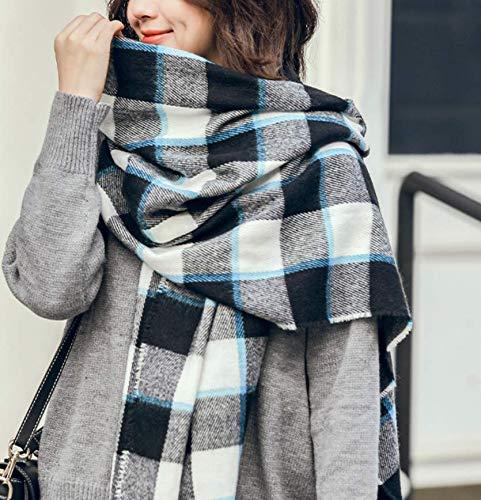SportingGoods sjaal voor herfst en winter, voor scholieren, kasjmier-look, grote sjaal, warm, modieus, handdoek, zwart en wit