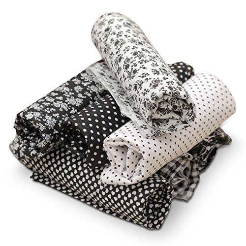 king do way 7 Stueck Muster Baumwollstoff Stoffpakete Patchwork Stoffe Baumwolle Stoffreste Paket Stoffpakete, 100% Baumwolle 50 x 50cm DIY Baumwolltuch Schwarz
