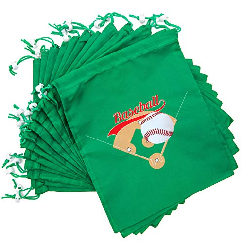 Baseball Drawstring Party Favor Bags for Kids (12 x 10 in, 12 Pack)
