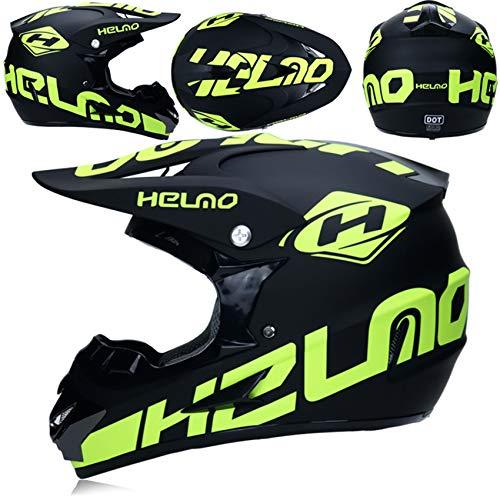 Dirt Bike Helmets for Men and Women, ATV Helmets for Adults with Goggles, Gloves, and Mask, DOT Approved Full Face Off-Road Downhill Dual-Sport UTV Motocross Helmet,Matte Black and Green,M