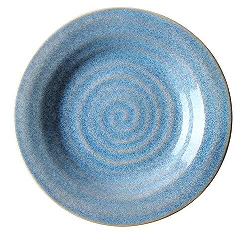 XZPENG Creativo a Forma di Filo Piatto di Ceramica Occidentale di Pasta Piatto Macedonia di Frutta Piatto Fondo Piatto della Colazione Piastra Domestica Piastra 10,5 Pollici Blu (Size : OCFMGVO)